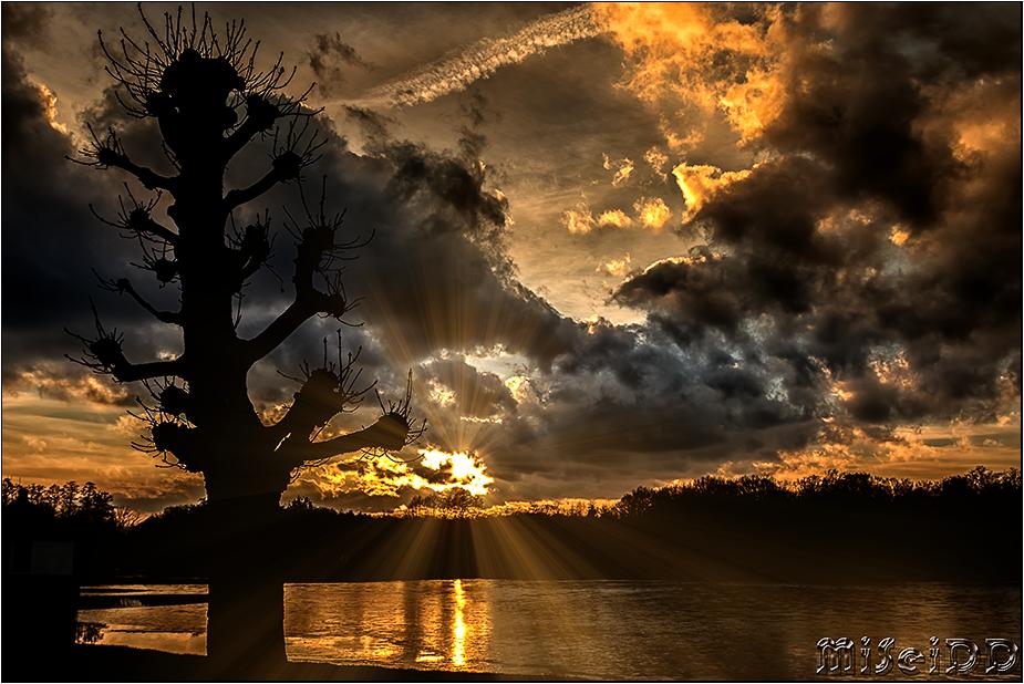 Sonnenuntergang am Schloss