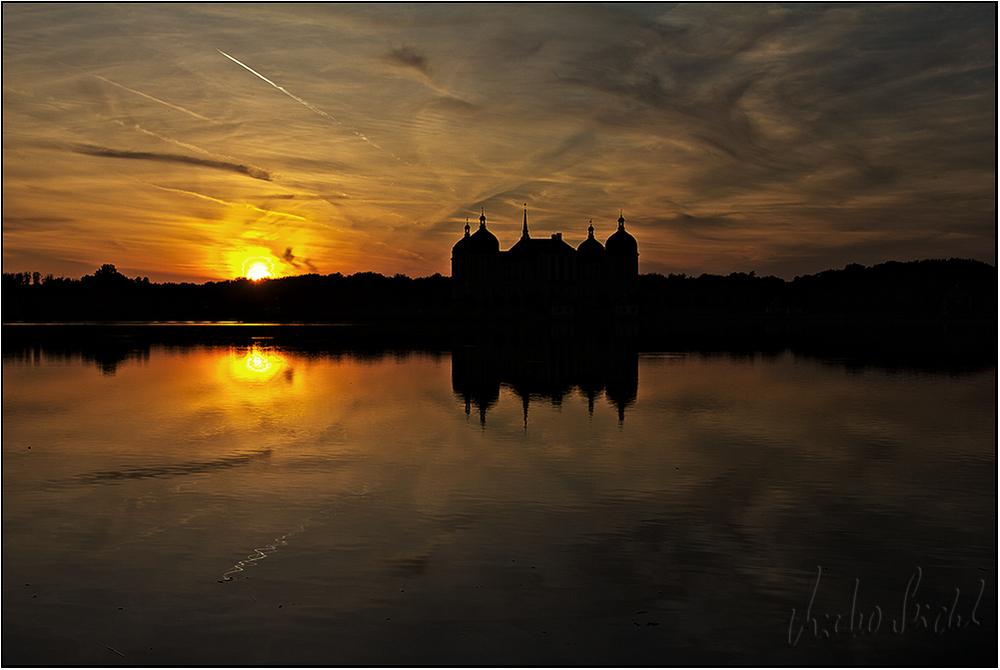 Schloss Moritzburg zum Sonnenuntergang